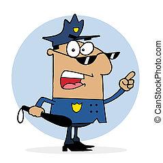 waanzinnig, politie, spaans, officier