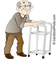 walker, man, oud, illustratie, gebruik