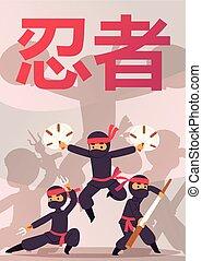 wapens, anders, gevarieerd, poster., illustration., ninja, strijder, unbeatable, karakter, plakken, accessoire, karate, vechters, vector, bo, kostuum, swords., actie, stickman, uitrusting, spotprent