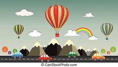 warme, aanzicht, snelweg, balloon, lucht