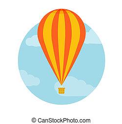 warme, vliegen, balloon, lucht