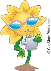 water, drank, zonnebloem, mascotte