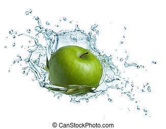 water, groene appel