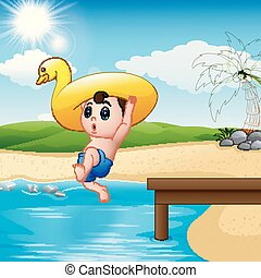 water, jongen, inflatable, springt, eend