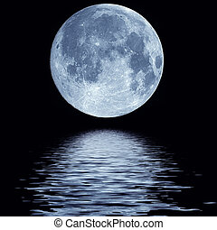 water, volle, op, maan