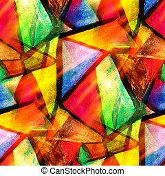 watercolor, driehoek, kleur, model, abstract, seamless, textuur, water, verf , gele, ontwerp, papier, achtergrond, groene, kunst, rood