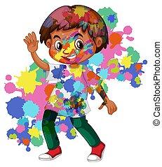 watercolor, vrolijke , zijn, lichaam, gespetter, jongen