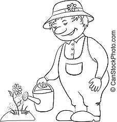 wateren, bloem, omtrek, tuinman