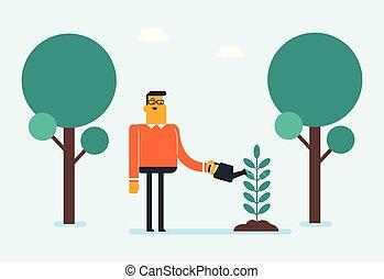 watering, jonge, kaukasisch, witte , plant., tuinman