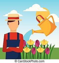 watering, tuinier werk, groenteblik, bloemen, tuinman