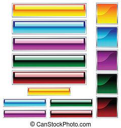 web, scaleable, knopen, geassorteerd, glanzend, kleuren, pleinen, rechthoeken