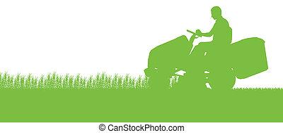 wei, abstract, illustratie, maaier, akker, holle weg, tractor, achtergrond, gras, landscape, man