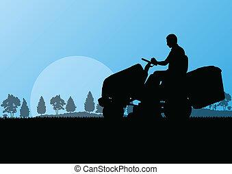 wei, abstract, illustratie, maaier, akker, holle weg, vector, tractor, achtergrond, gras, landscape, man