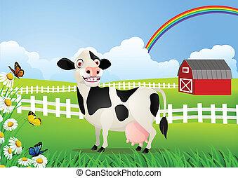 wei, spotprent, koe