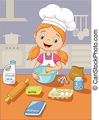 weinig; niet zo(veel), bakken, spotprent, meisje