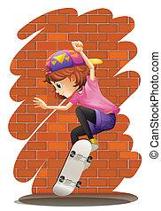 weinig; niet zo(veel), energiek, meisje, skateboarding