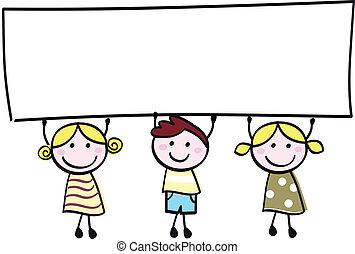 weinig; niet zo(veel), vasthouden, spandoek, vrolijke , lege, schattig, -, jongen, meiden, leeg, spotprent, illustration.