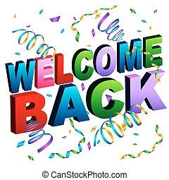 welkom, back, boodschap