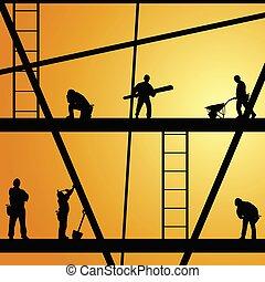 werken, bouwsector, vector, arbeider, illustratie