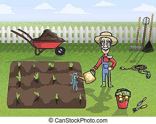 werken, karakter, tuinman, vrolijke