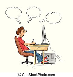 werken, vector, computer., illustration., man