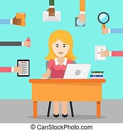 werken, werkende, vrouw, kantoor, secretary.