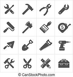 werkende , iconen, werktuig, instrument, vector, white.