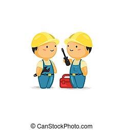 werkmannen , gereedschap, onderhoud