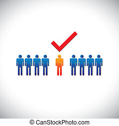 werknemer, grafisch, rechts, selecting(hiring), illustration-, employable, candidate., illustratie, mark, persoon, werk, arbeider, suitable, optredens, check(tick)