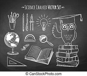 wetenschap, set., vector