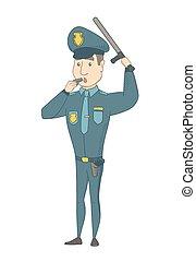 whistling., kaukasisch, politieman, jonge