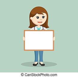 whiteboard, vrouwlijk, vasthouden, arts