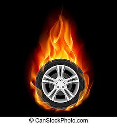 wiel, auto, vuur