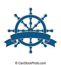 wiel, banner., emblem., vector, nautisch, scheeps