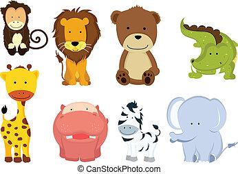 wild, stripfiguren, dier