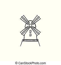 windmolen, getrokken, schets, icon., hand