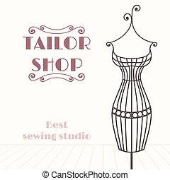 winkel, ijzer, ouderwetse , mannequin., kleermaker, achtergrond