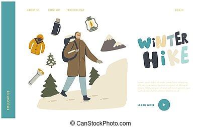 winter, buitenshuis, backpacker, wandelende, activiteit, tussenverdieping, sporten, vakantie, pagina, wandeling, mannelijke , karakter, hobby, template., avontuur