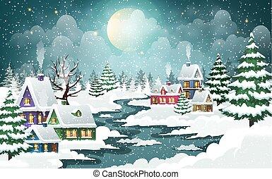 winter, kerstmis, dorp, scène