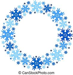 winter, snowflakes., frame, isolated., vector, ronde