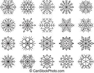 winter, snowflakes, set, vector, illustratie, vrijstaand, black