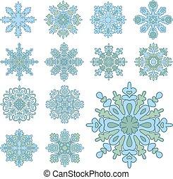 winter, snowflakes., vrijstaand, illustratie, vector, gevarieerd