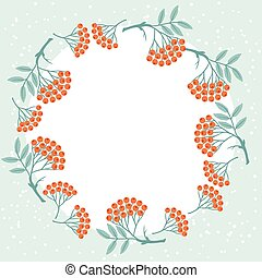 winter, stylized, berries., ontwerp, achtergrond, rowan