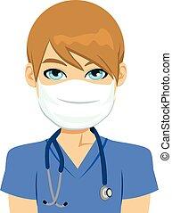 wit mannelijk, verpleegkundige