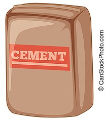 witte achtergrond, cement, zak