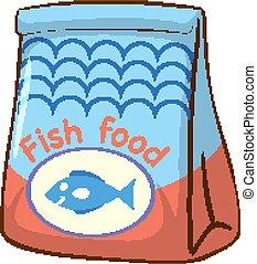 witte achtergrond, visje, zak, voedingsmiddelen