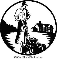 witte , het maaien, tuinman, retro, houtsnee, black , grasmaaimachine