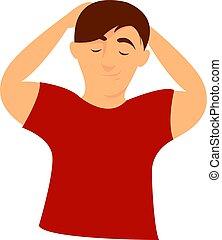 witte , illustratie, rood hemd, vector, achtergrond.