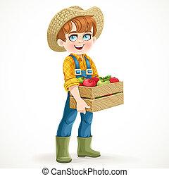 witte , jeans, doosje, overalls, laarzen, schattig, appel, vrijstaand, jongen, houten, farmer, rubber, vasthouden, achtergrond