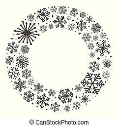 witte , krans, sneeuwvlok, achtergrond